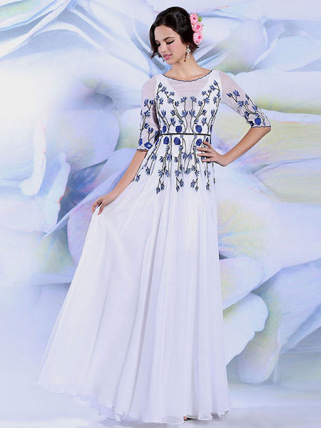 Modest White Formal Prom Evening Dress With Sleeves | DQ831286