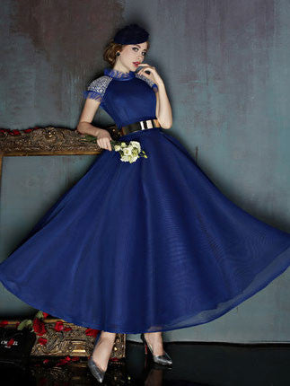 Tea Length Evening Dresses with Sleeves