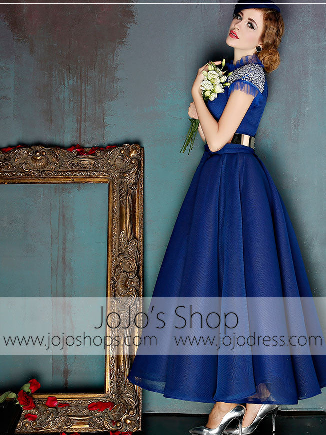 Dark Blue Short Sleeves Modest Ankle Length Evening Prom Formal Dress | X037