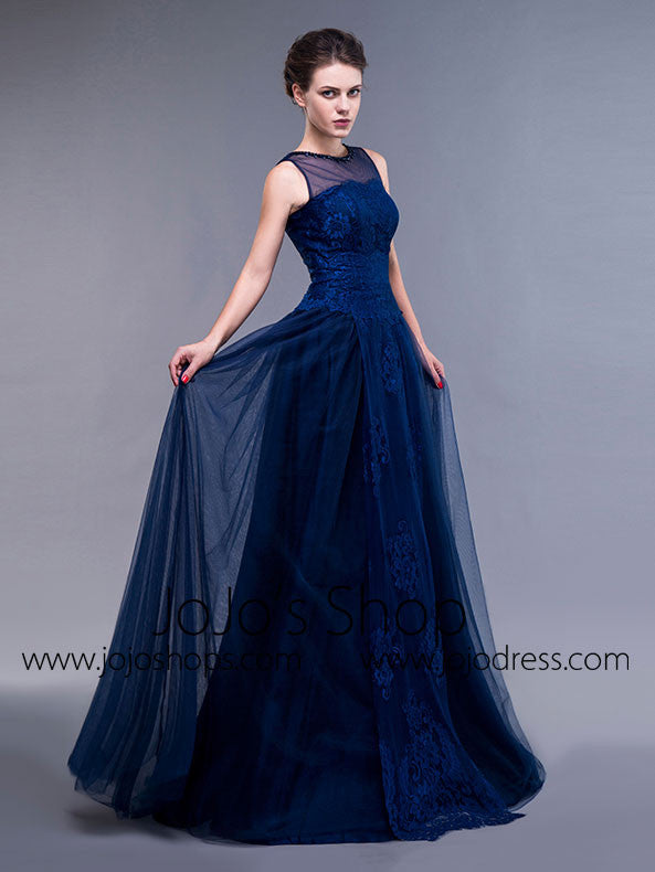 Navy Lace Formal Ball Gown Formal Graduation Home Coming Dress