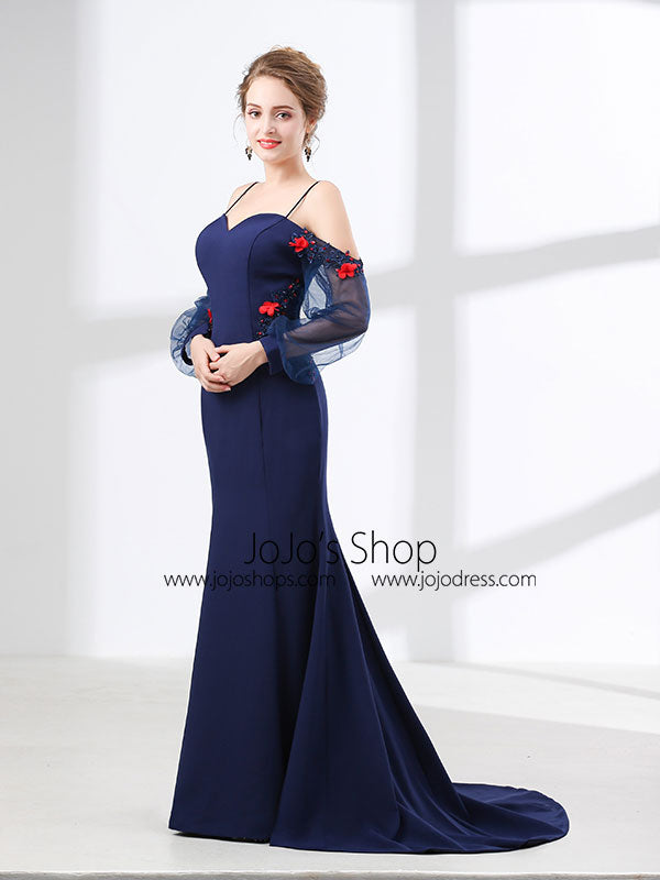 Navy Blue Off Shoulder Mermaid Formal Prom Evening Dress