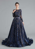 Navy Blue Sequin Shimmery A-line Home Coming Prom Dress