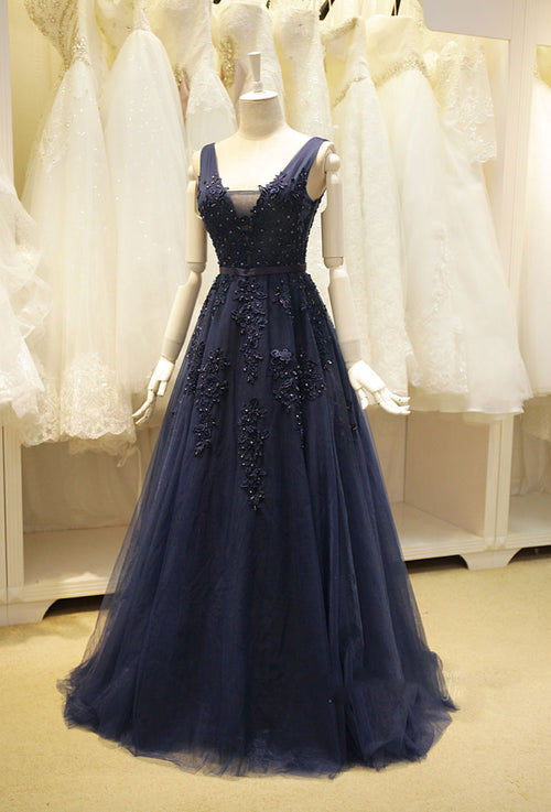 Navy Blue Long Tulle Formal Evening Dress