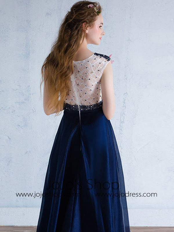 Modest Blue Formal Prom Evening Dress