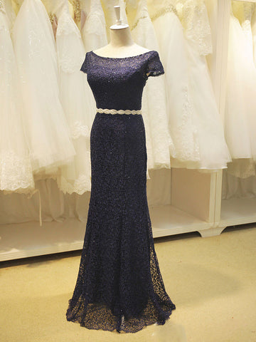 Navy Blue Elegant Mother of Bride Long Formal Evening Gown