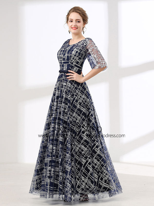 Navy Modest Long Formal Evening Gown