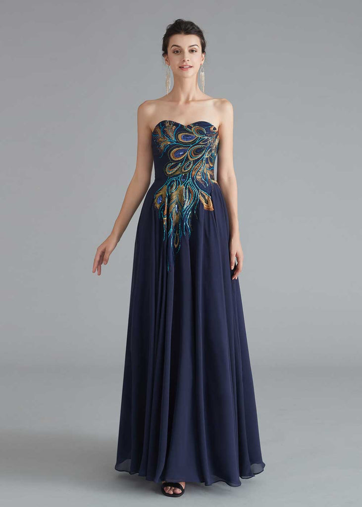 Strapless Navy Chiffon Peacock Style Formal Evening Dress