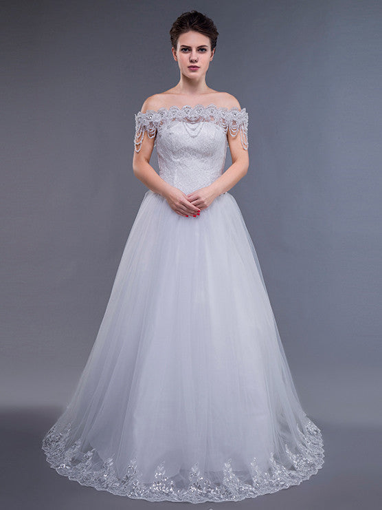 White Off Shoulder Debutante Ball Gown Dress – JoJo Shop