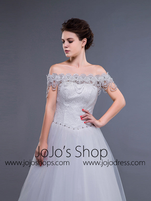 White Off Shoulder Debutante Ball Gown Dress