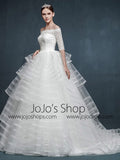 Half Sleeve Off Shoulder Modern Striped Ball Gown Wedding Dress