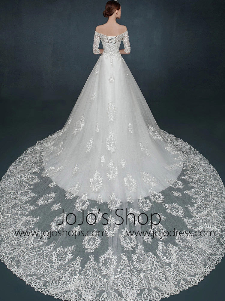 A-line Lace Wedding Dress with Off Shoulder Sleeves