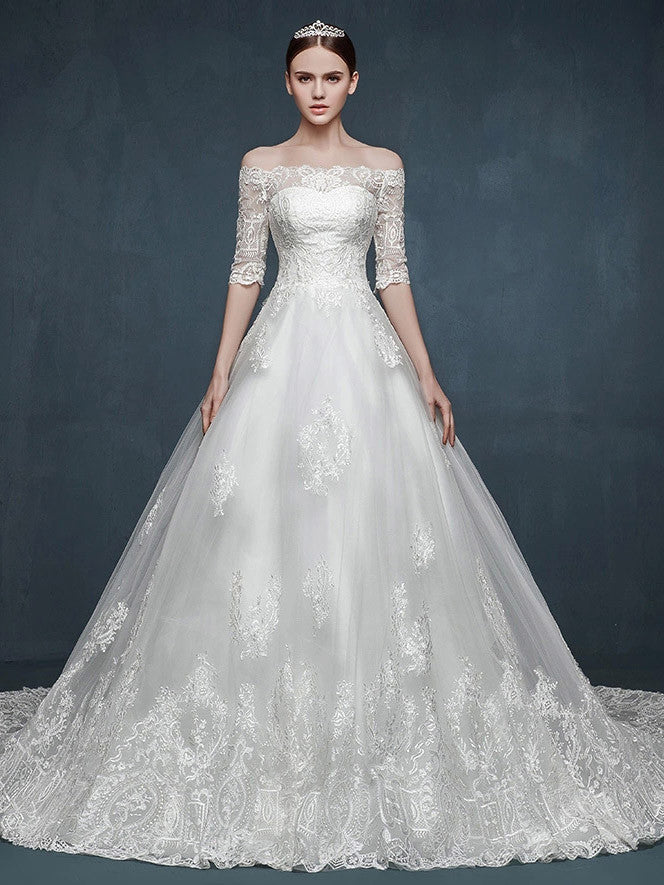 Cap Sleeves Lace A Line Wedding Dress With Illusion