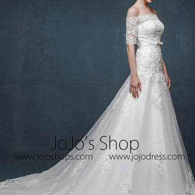 Off Shoulder A-line Lace Wedding Dress with Dropped Waist
