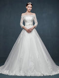 Off Shoulder Long Sleeves A-line Lace Wedding Dress