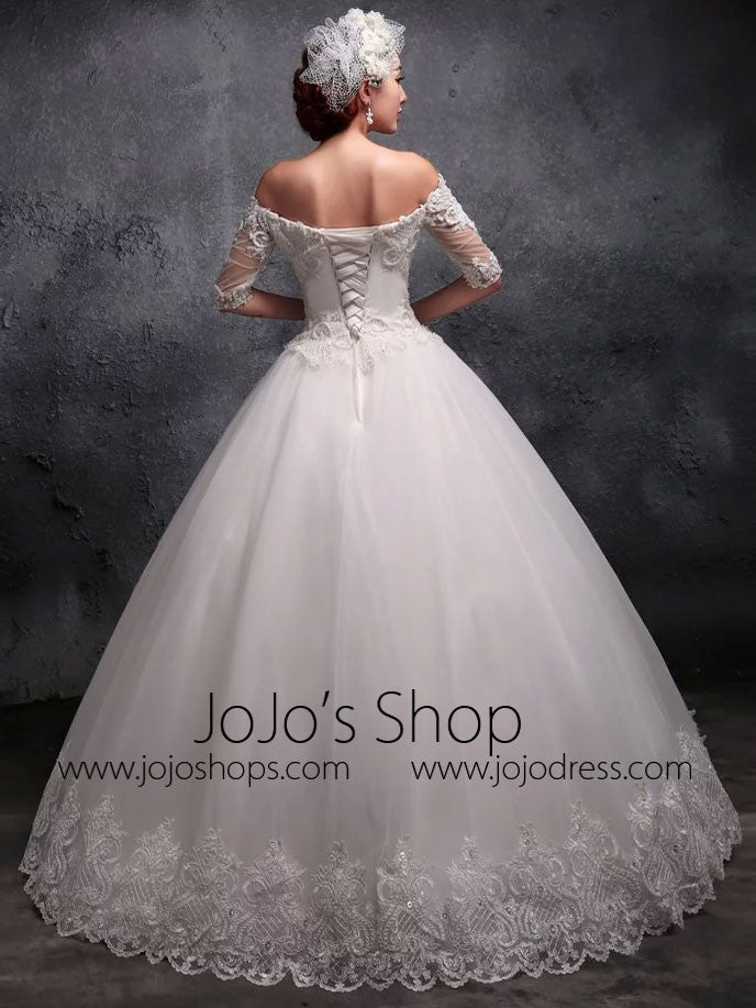 Off the Shoulder Sleeves Lace Debutante Ball Gown Wedding Dress X026