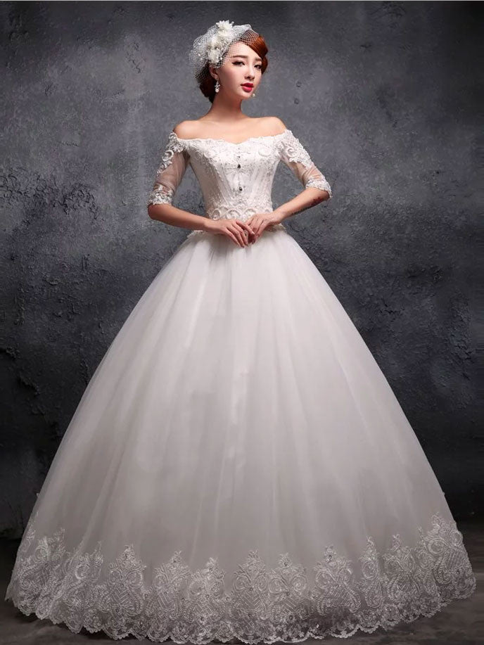 Off the Shoulder Sleeves Lace Debutante Ball Gown Wedding Dress X026 ...