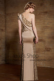 Retro Vintage Hollywood Style Gold Formal Military Ball Gown Evening Dress | CX830882