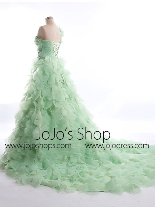 One Shoulder Green Petal Whimsical Formal Prom Evening Dress