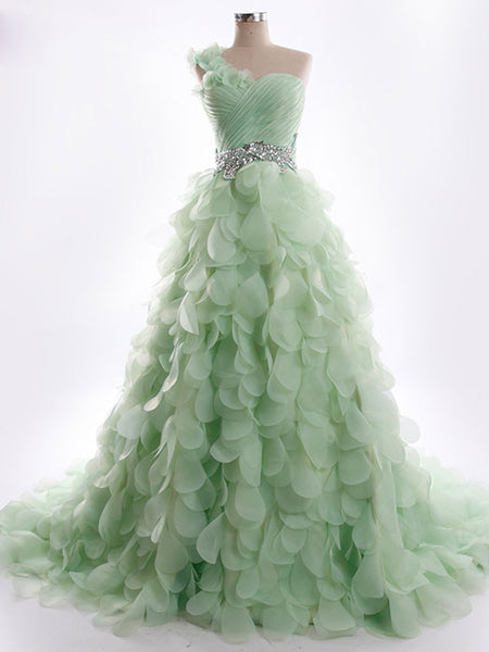 One Shoulder Green Petal Whimsical Formal Prom Evening
