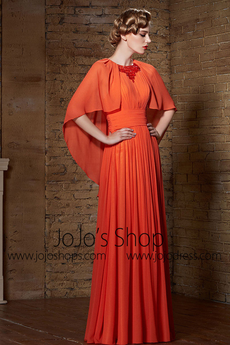 Orange Boho Chiffon Formal Prom Military Ball Gown Evening Dress | CX830881