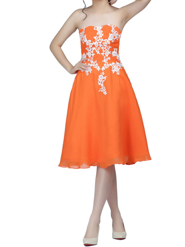 Strapless Orange Short Chiffon Lace Formal Dress