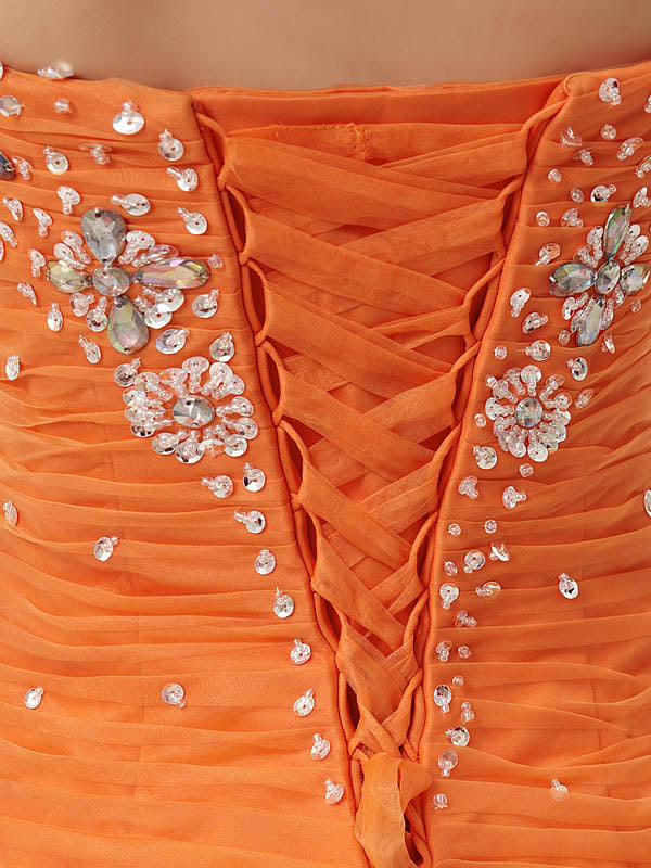 Strapless Orange Mermaid Ruffle Formal Prom Homecoming Dress