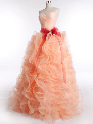 Peach Strapless Formal Prom Dress with Ruffle Skirt | RS3014