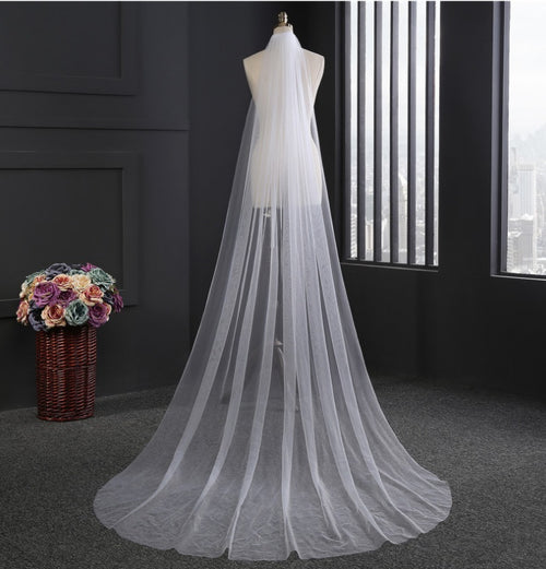 Long Chapel Length Tulle Wedding Veil
