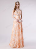 Peach Lace Formal Prom Dress with Thin Straps
