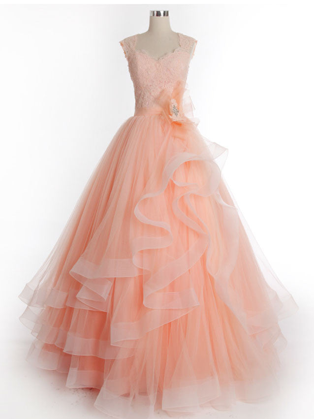 Peach Lace Princess Prom Formal Dress with Cap Sleeves – JoJo Shop