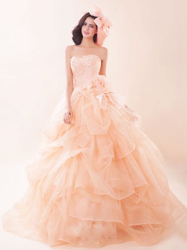 Strapless Peach Pink Quinceanera Ball Gown Dress G2021 – JoJo Shop