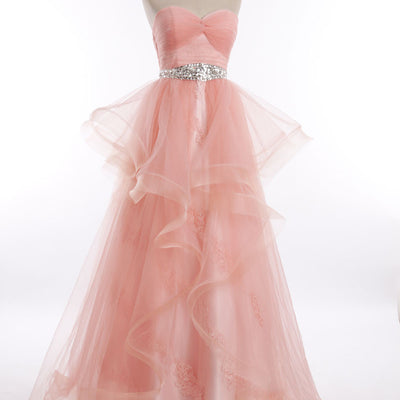 Peach Tulle Lace Prom Pageant Dress