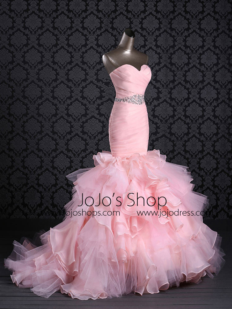Strapless Pink Prom Dress Evening Dress Fit and Flare Evening Dress | G2022