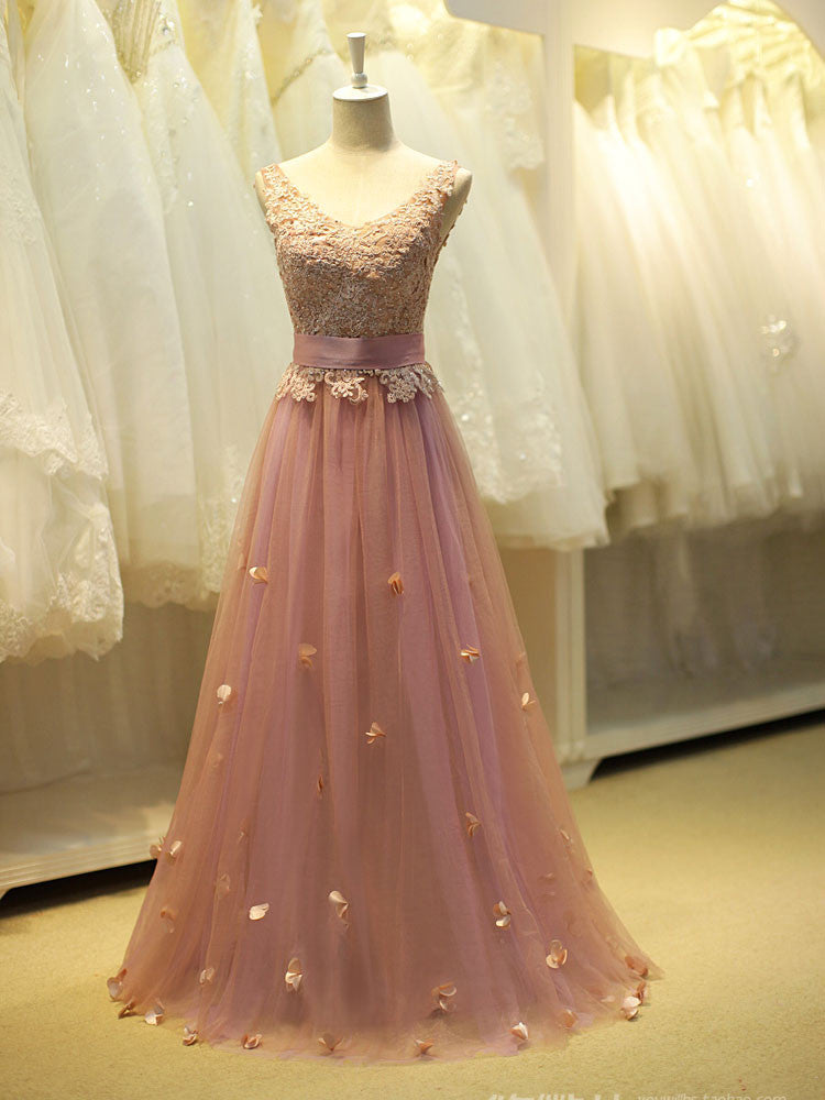 Pink Lace Fairy Tale Prom Formal Evening Dress YW1720