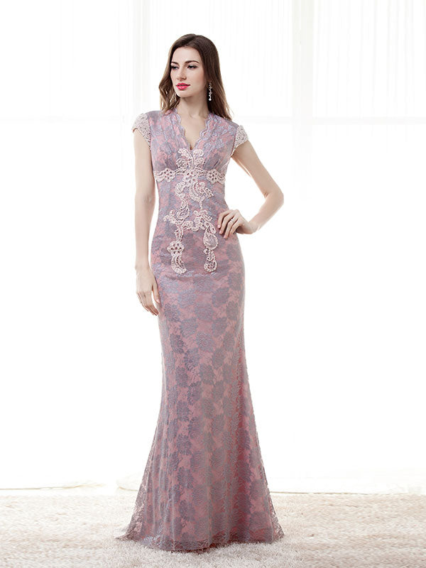 Pink Lace Formal Evening Dress with Cap Sleeves