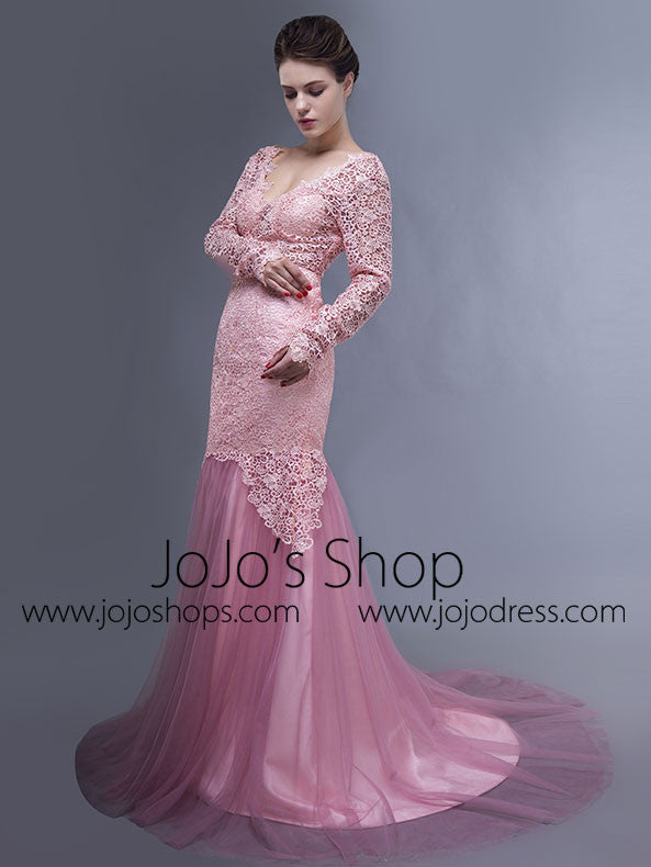 Pink Long Sleeves Open Back Mermaid Prom Formal Evening Dress