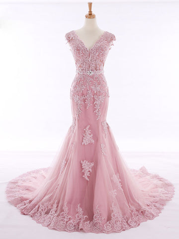 Pink Lace Mermaid Evening Gown with Open Back
