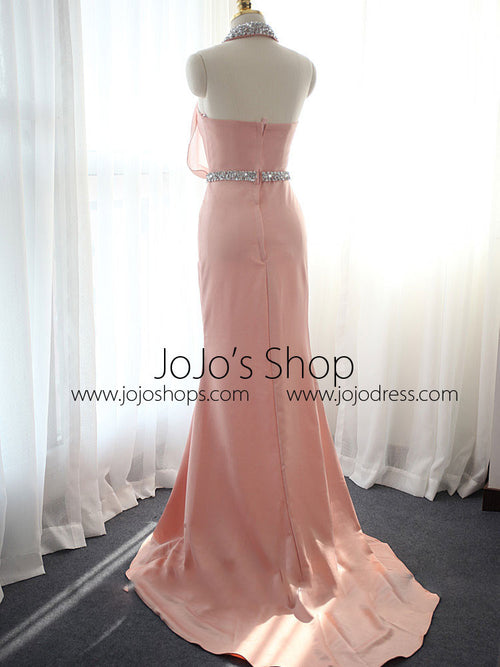 Pink Halter Formal Evening Dress with Collar