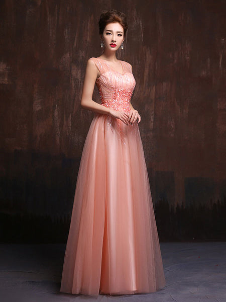 Modest Pink Floor Length Prom Dress Formal Evening Gown X019