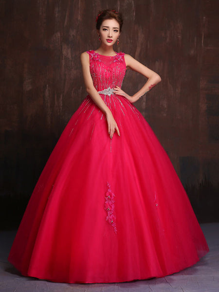 Hot Pink Modest Quinceanera Ball Gown Prom Dress Home
