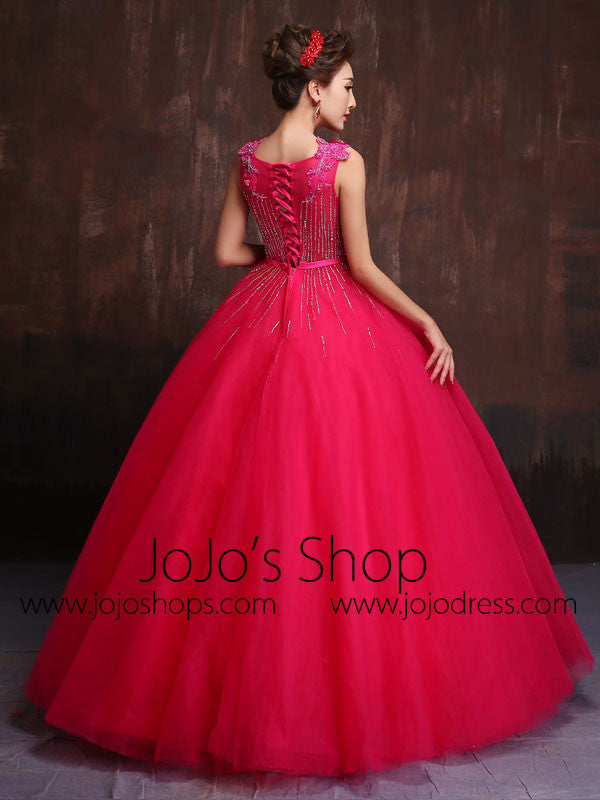 Hot Pink Modest Quinceanera Ball Gown Prom Dress Home Coming Dress Sweet Sixteen Dress X014