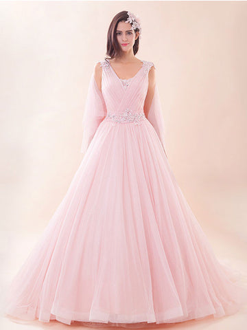 Pink Grecian Ball Gown Evening Dress Prom Dress | G2023