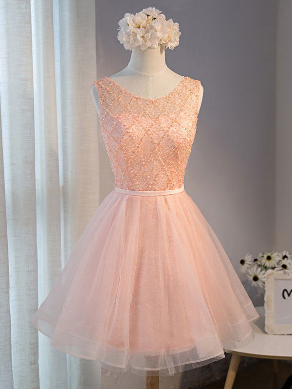 Pink Short Lace Bridesmaid Dresses