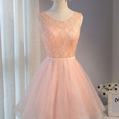 Blush Pink Short Lace Sweet Sixteen Prom Formal Dress