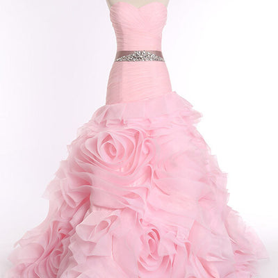 Pink Strapless Fit and Flare Prom Formal Dress with Ruffle Skirt | RS3010