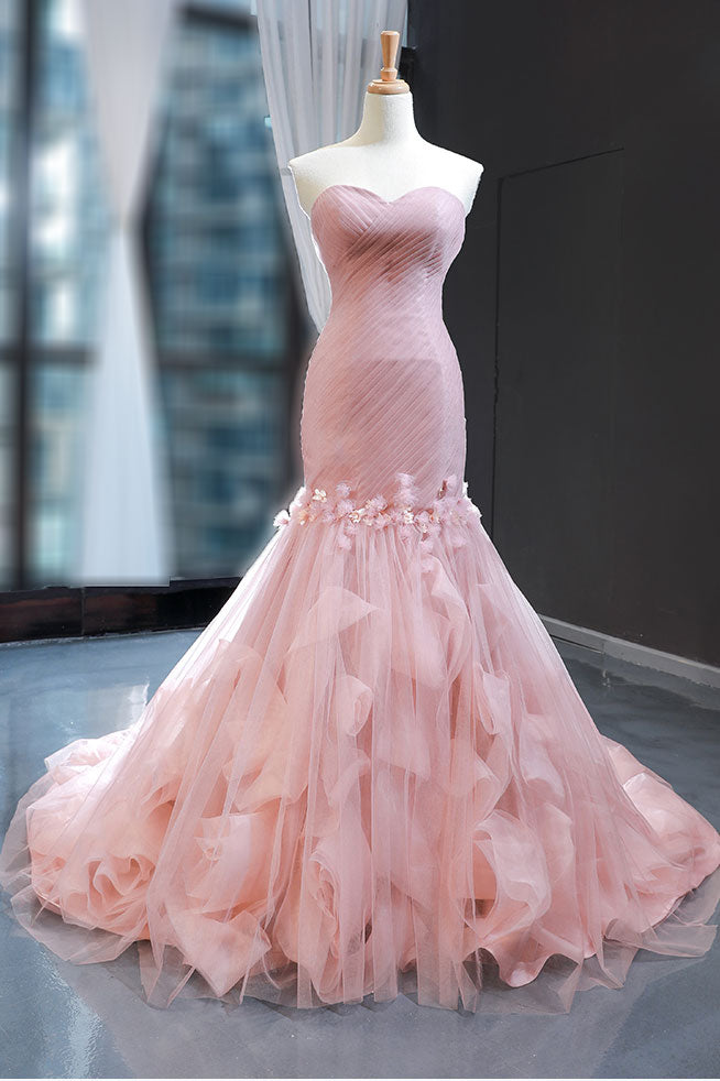 Strapless Pink Mermaid Formal Evening Dress RS2015