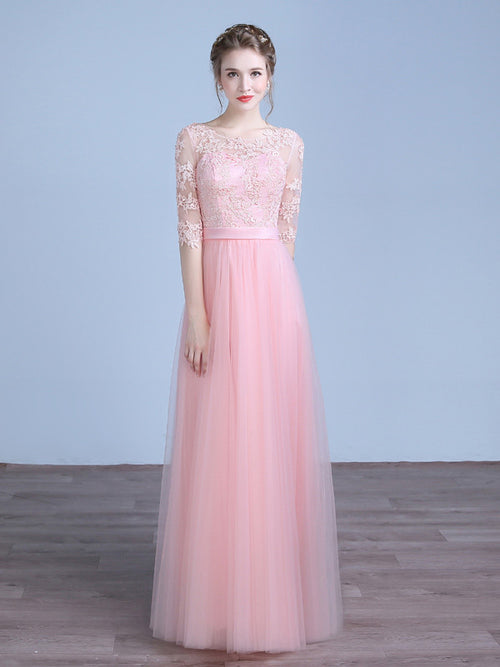 Pink Floor Length Formal Prom Evening Dress