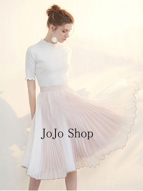 Soft Pink Pleated Skirt