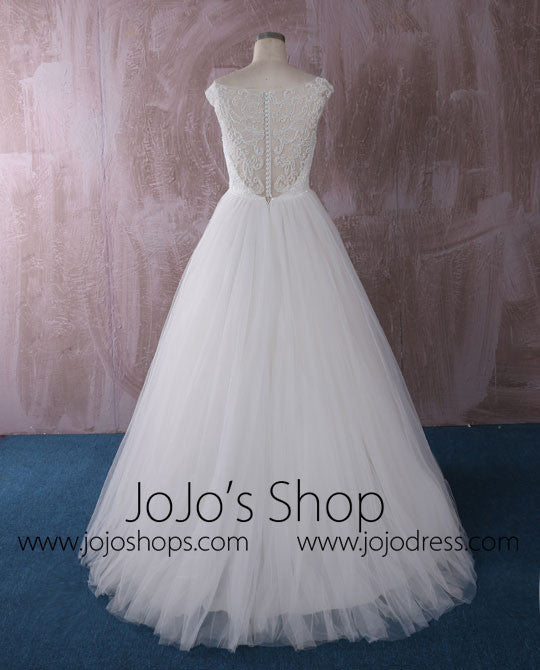 Princess A-line Tulle Wedding Dress with Illusion Neckline | QT85276