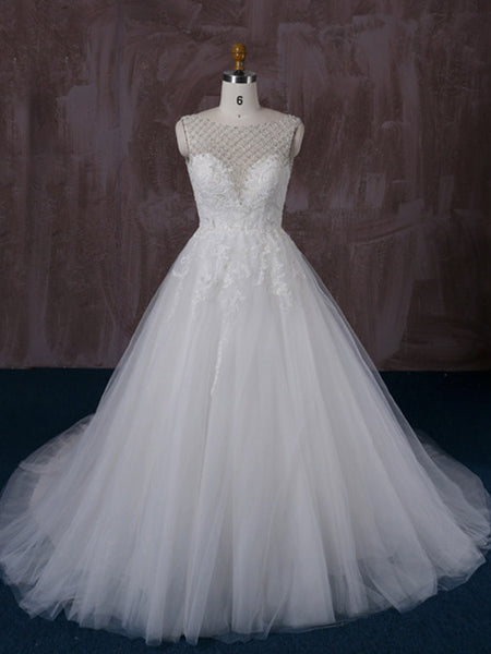 Lace Ball Gown Wedding Dress with Jeweled Neckline | QT85280